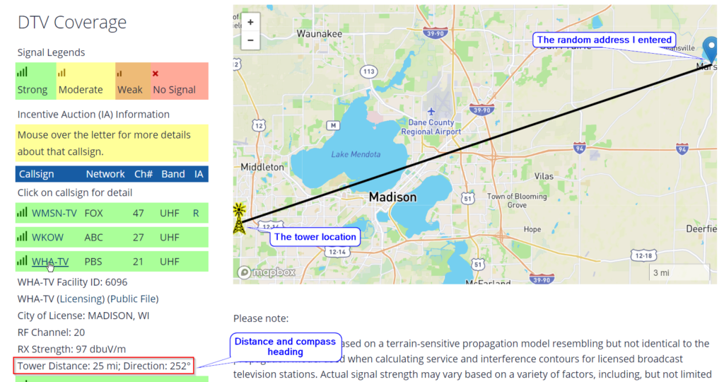 A screenshot of the FCC DTV website, where a strong TV channel is clicked. A line is drawn on the map to depict where the TV tower for the channel is located relative to the address. Full description to follow.